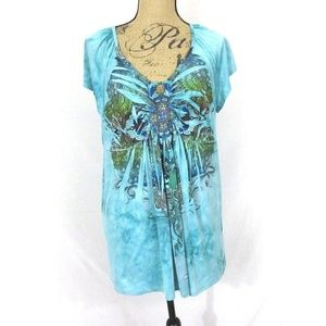 One World Plus Size 1X Bling Top Teal Blue EUC